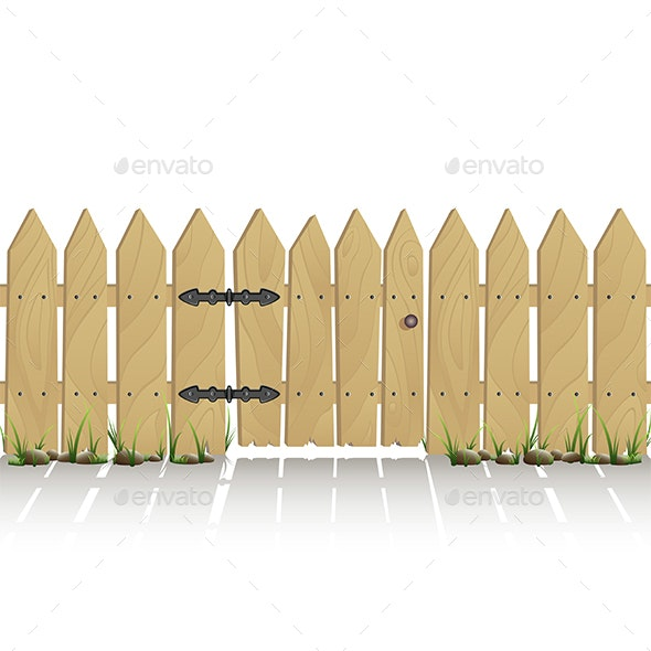 Wooden Fence with Gate - Man-made Objects Objects