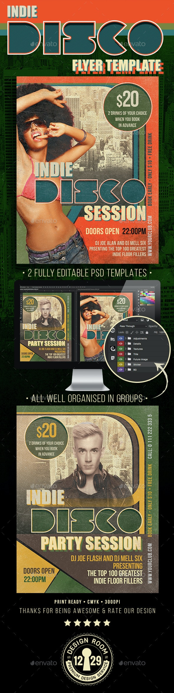Indie Disco Session Flyer Template - Clubs & Parties Events
