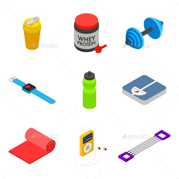Isometric Gym and Fitness Icon Set - Man-made Objects Objects