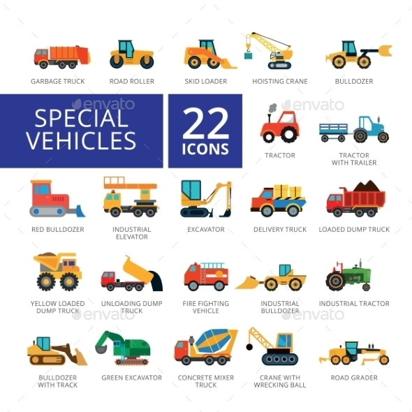 Special Vehicles Flat Icons Set - Buildings Objects