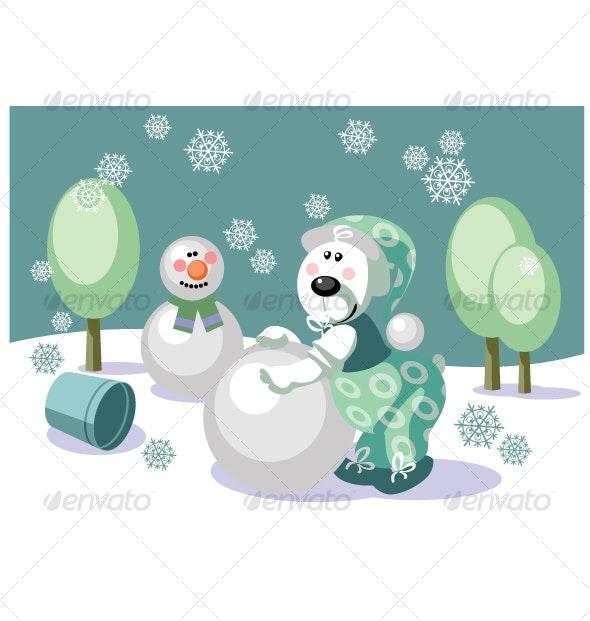 Bear make snowman color 16 - Seasons/Holidays Conceptual