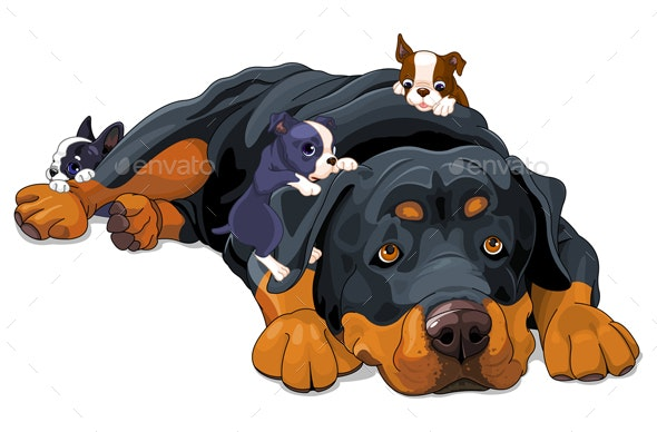 Rottweiler Family - Animals Characters