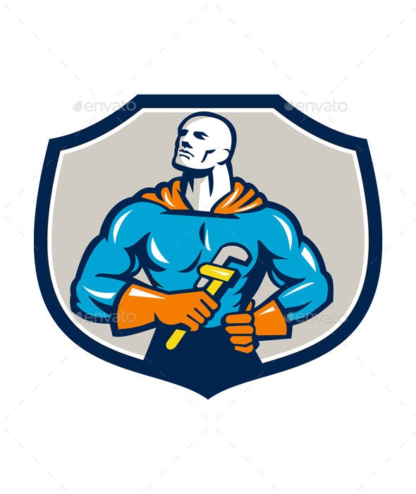 Plumber Superhero Monkey Wrench Crest Retro - People Characters