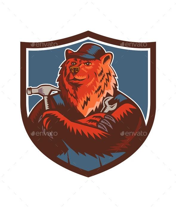 Russian Bear Builder Handyman Crest Woodcut - Animals Characters
