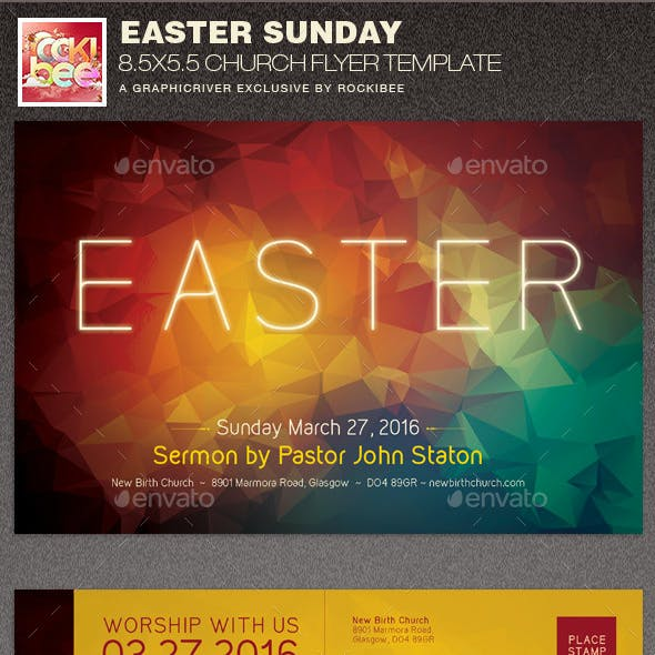 Easter Sunday Church Flyer Template