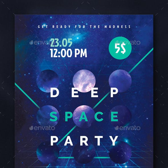 Deep Space Party FLyer