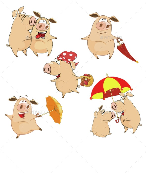 Cartoon Illustration of Happy Pigs for your Design - Animals Characters