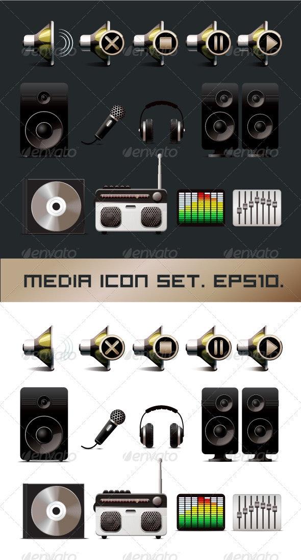 Media Icons Set - Media Technology