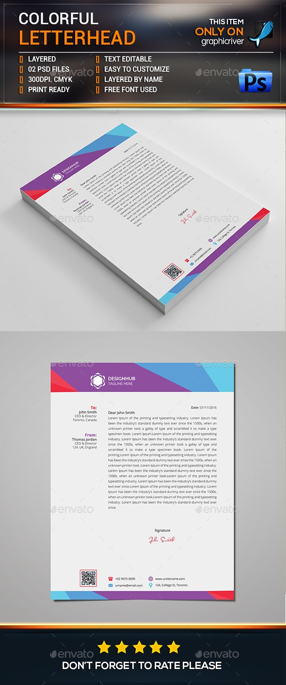 Colorful Letterhead Template - Stationery Print Templates