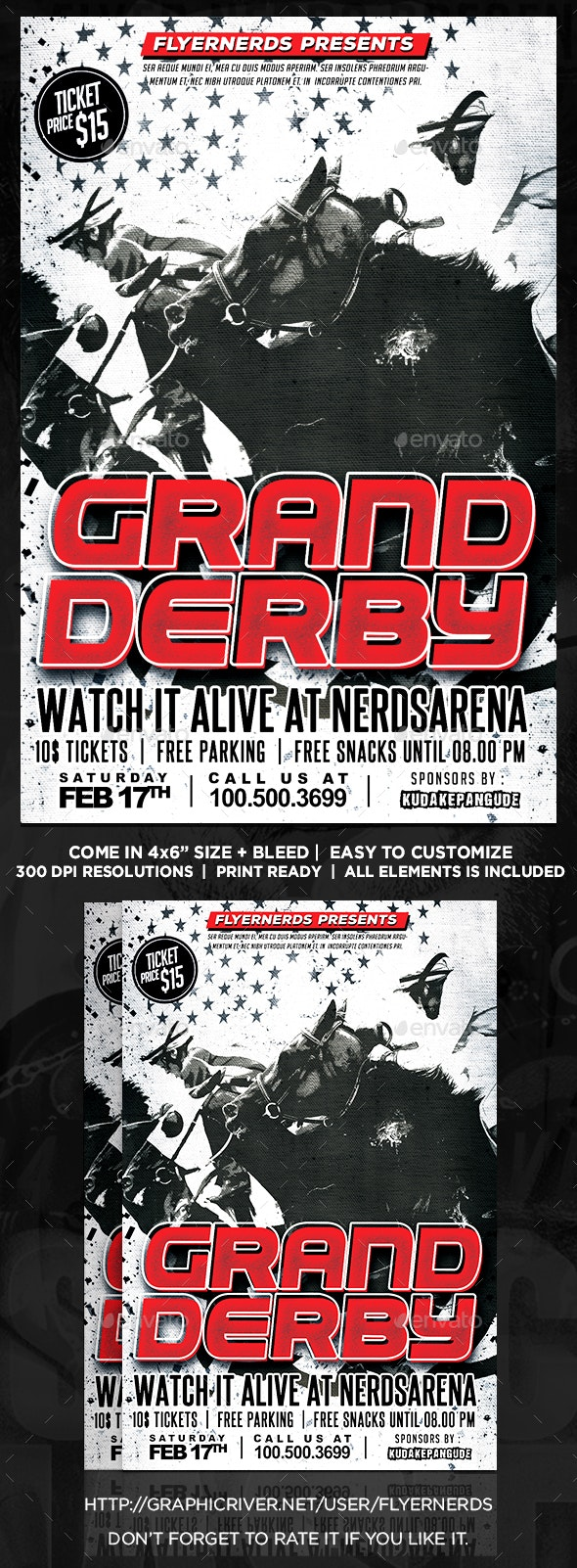 Grand Derby Horse Racing Sports Flyer - Sports Events