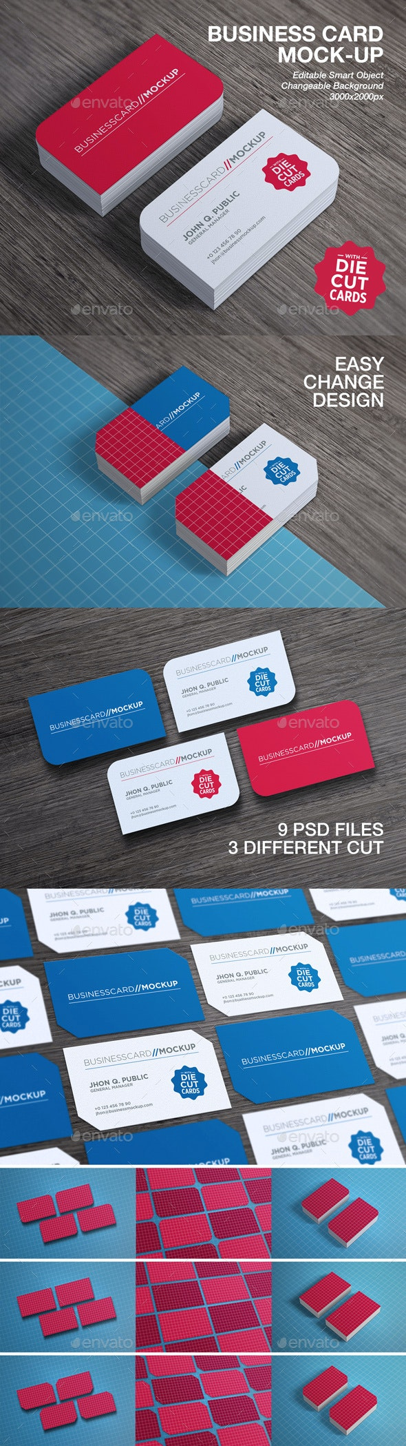 Die Cut Business Card Mock-Up - Business Cards Print