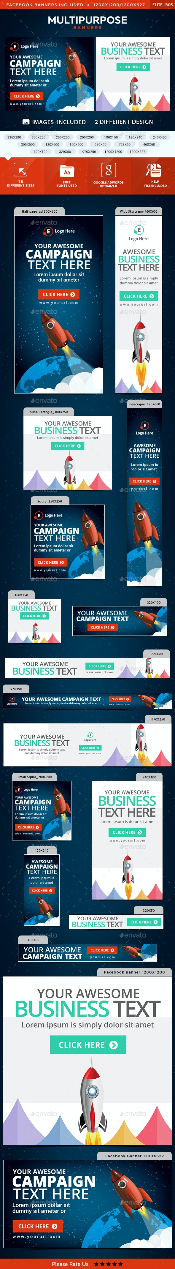 Multipurpose Banners - 2 Designs - Banners & Ads Web Elements