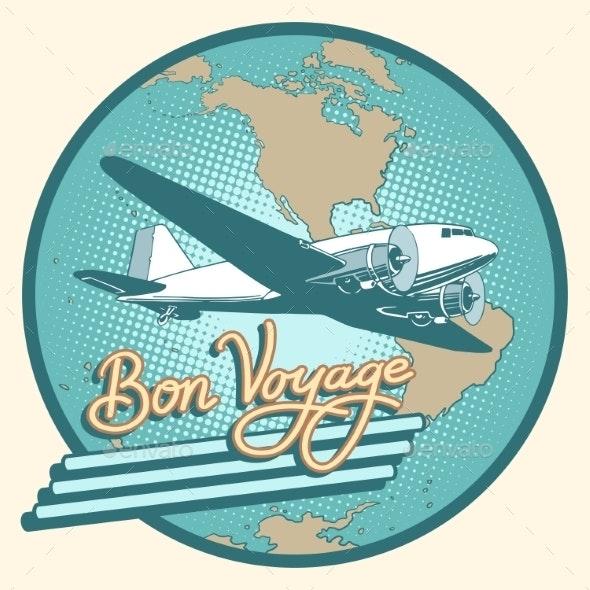 Bon Voyage Abstract Retro Plane Poster - Travel Conceptual