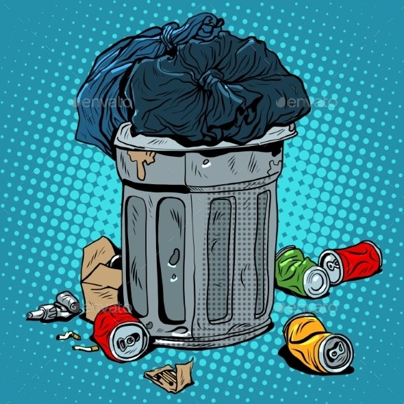 Trash Tin Cans Ecology Recycling - Miscellaneous Vectors