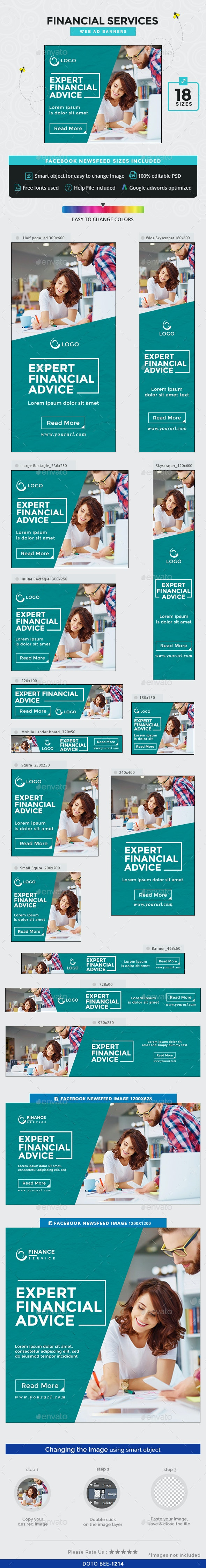 Financial Services Banners - Banners & Ads Web Elements