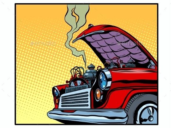 Broken Car Open Hood Engine Smoke - Retro Technology