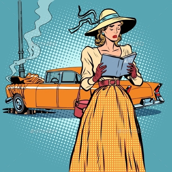 Woman Car Crash Retro - People Characters