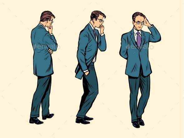 Businessman Thinks Goes Poses Figure Man - People Characters