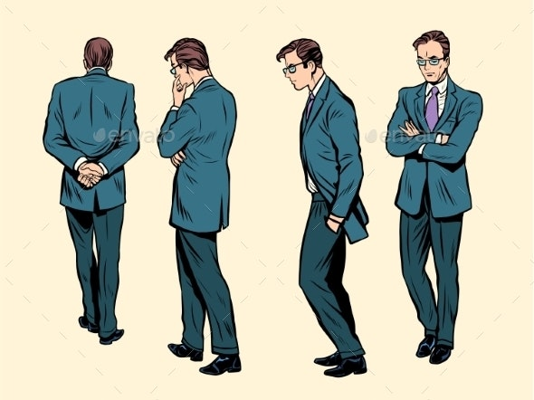 Poses of a Walking Human Thinking - People Characters