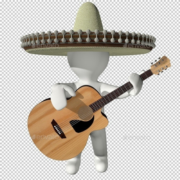 3D latin little man playing guitar - Characters 3D Renders