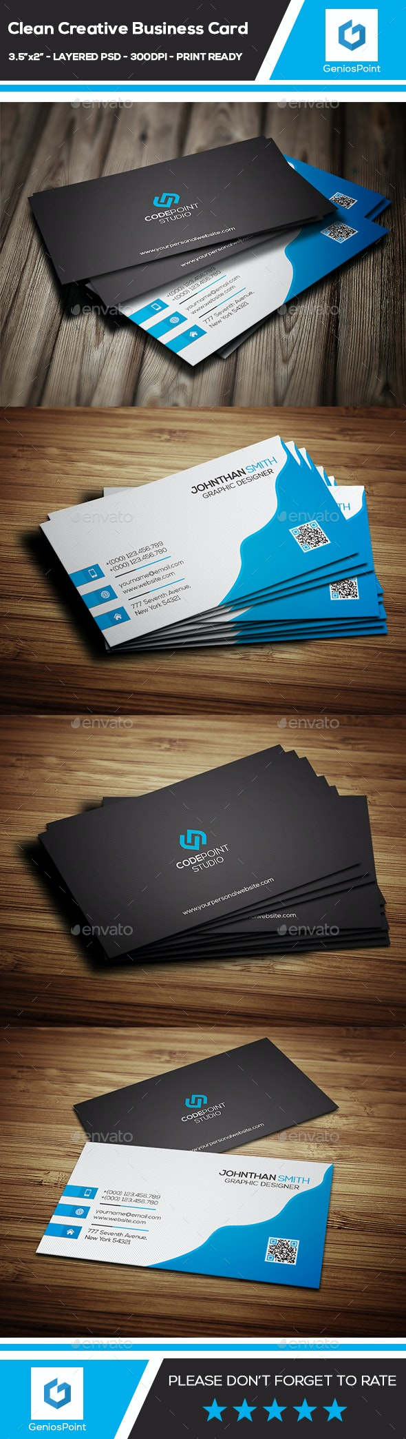 Clean Creative Business Card  - Business Cards Print Templates