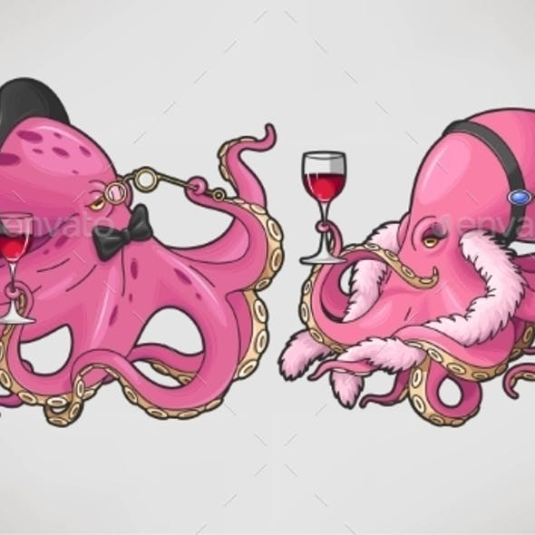 Two Cartoon Octopuses in Retro Costumes