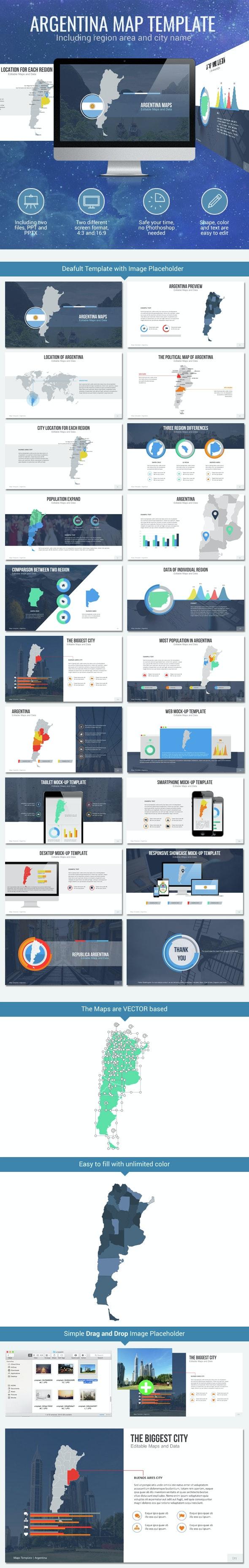 Argentina - Editable Map Presentation - PowerPoint Templates Presentation Templates