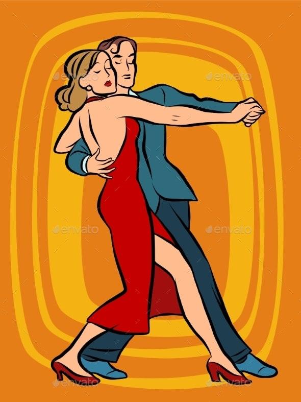 Couple Dancing Tango - People Characters