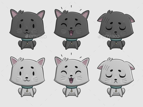 Cat Expressions Set - Animals Characters