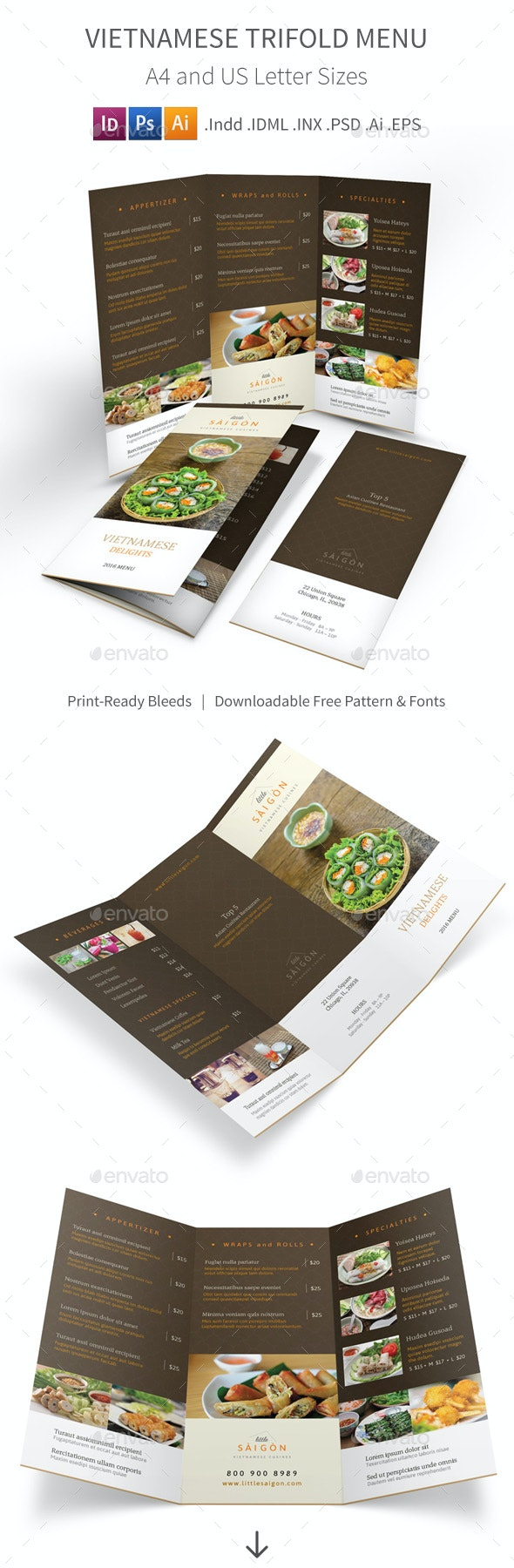 Vietnamese Restaurant Trifold Menu 2 - Food Menus Print Templates