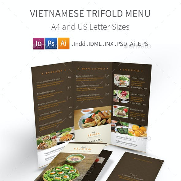 Vietnamese Restaurant Trifold Menu 2