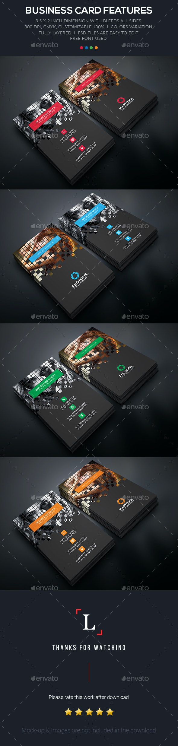Pixel Photography Business Card - Business Cards Print Templates