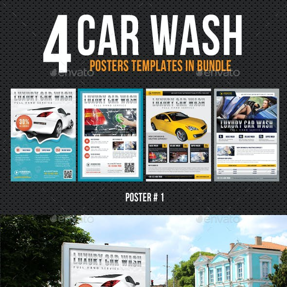 4 in 1 Car Wash Poster Bundle
