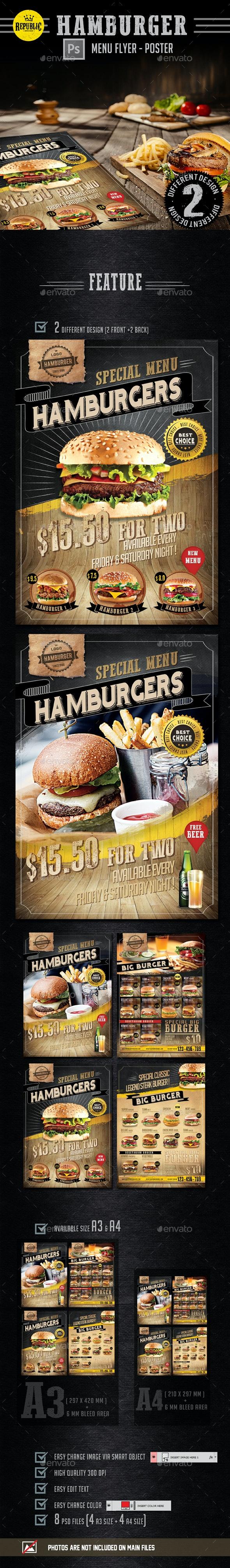 Hamburger Menu Flyer - Food Menus Print Templates