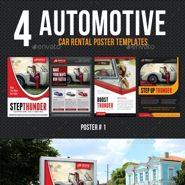 4 Automotive Car Rental Poster Bundle