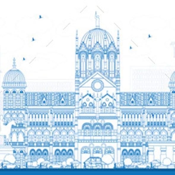 Outline Mumbai Skyline with Blue Landmarks