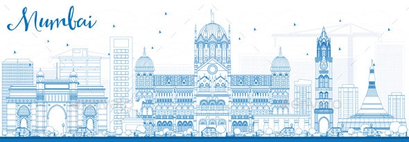 Outline Mumbai Skyline with Blue Landmarks - Buildings Objects