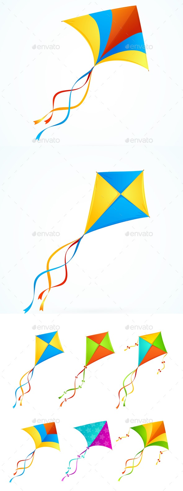 Colorful Kite Set - Man-made Objects Objects