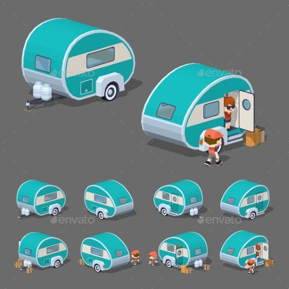 Low Poly Turquoise Retro Trailer House - Travel Conceptual
