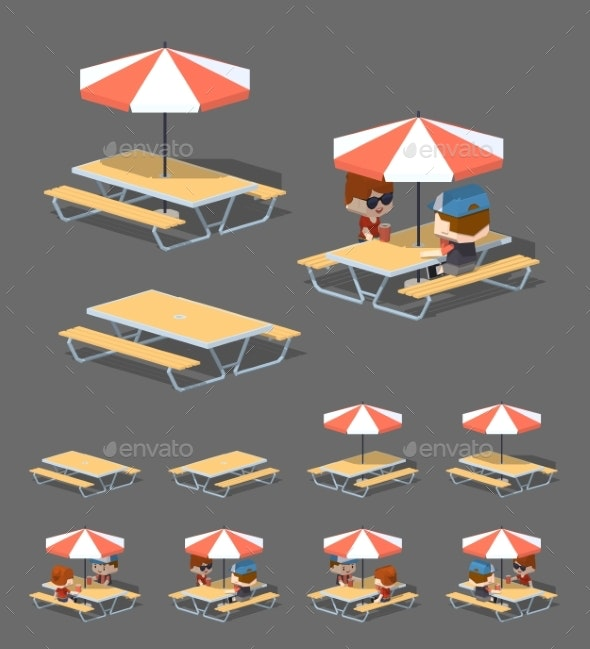 Low Poly Cafe Table with Sun Umbrella - Man-made Objects Objects