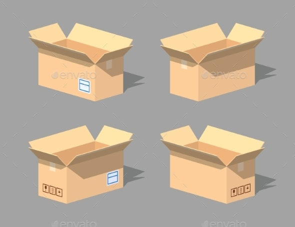 Low Poly Open Empty Cardboard Box - Man-made Objects Objects