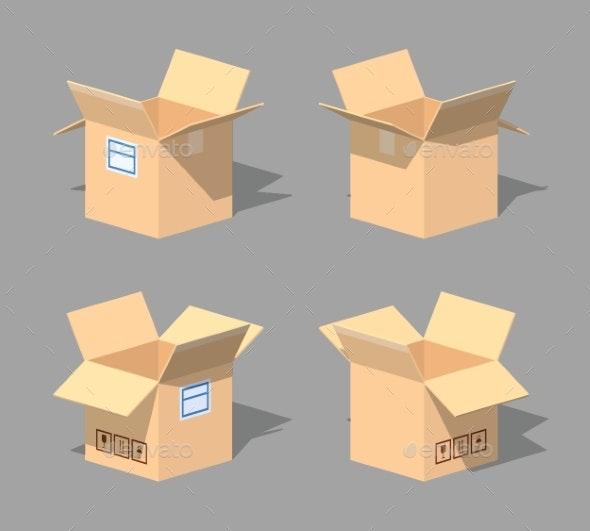 Low Poly Open Empty Cardboard Box - Man-made Objects Objects