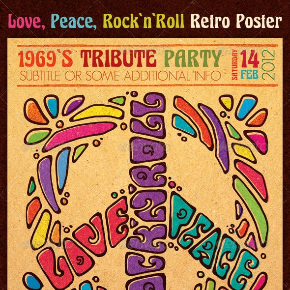 Love Peace Rock`n`Roll Retro Poster