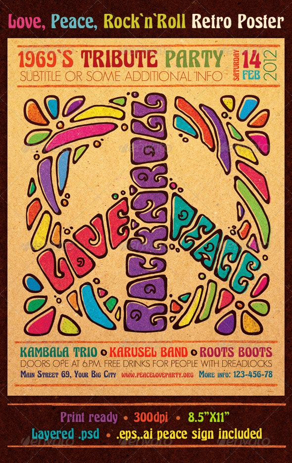 Love Peace Rock`n`Roll Retro Poster - Clubs & Parties Events