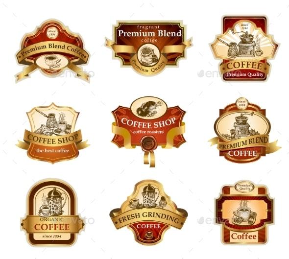 Coffee Ornamental Labels Set - Decorative Symbols Decorative