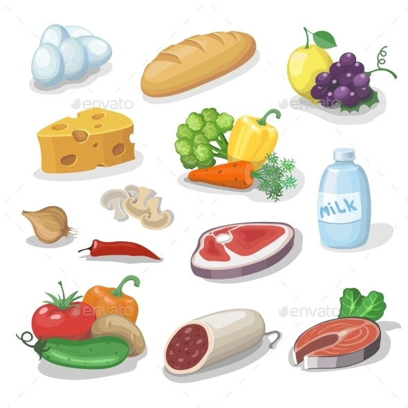 Common Everyday Food Products Cartoon Icons  - Food Objects