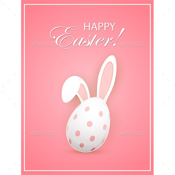 Rabbit Ears and Easter Egg on Pink Background - Miscellaneous Seasons/Holidays