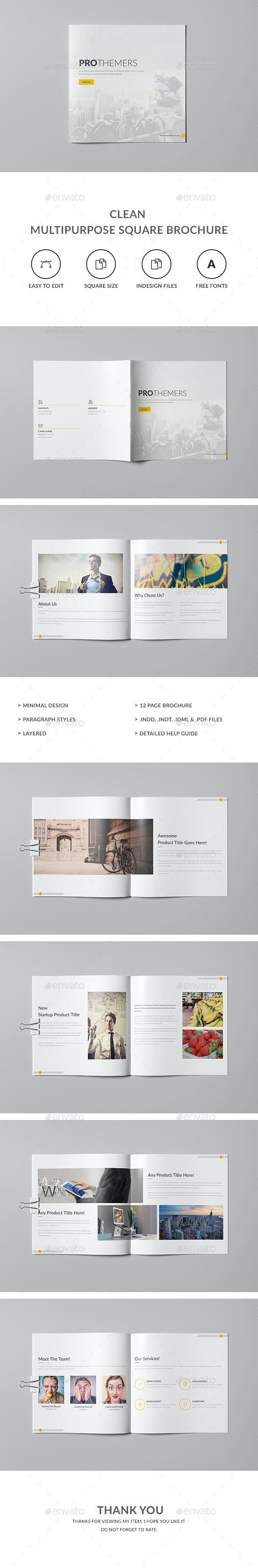 Clean Multipurpose Square Brochure Template - Corporate Brochures