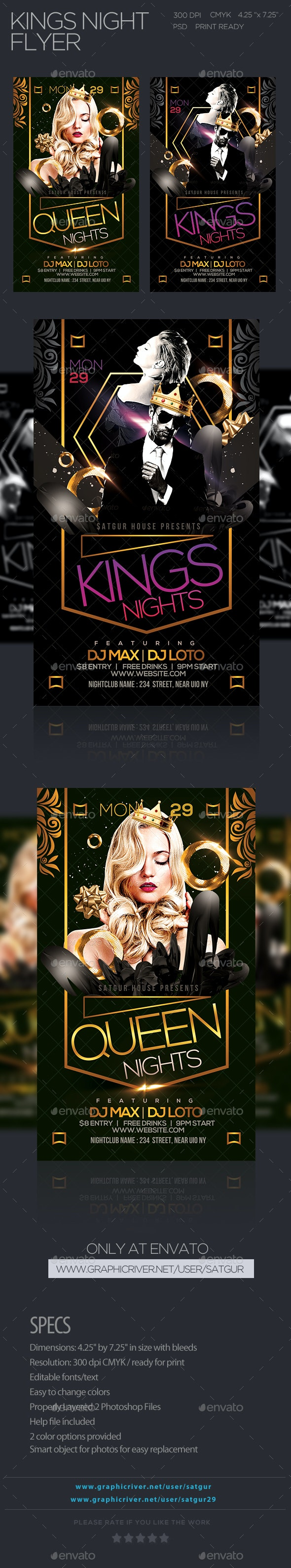 Kings Nights Party Flyer  - Clubs & Parties Events