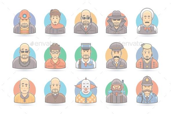 15 Flat People Cartoon Icons Set - People Characters